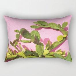 Pink Wall/Green Cactus  Rectangular Pillow