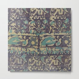 Elephant Batik Metal Print
