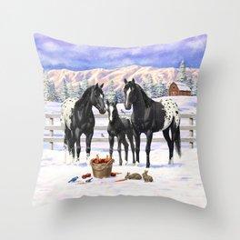 Black Appaloosa Horses In Winter Snow Throw Pillow