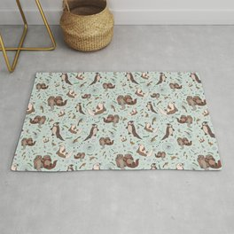 Cute Sea Otters Rug