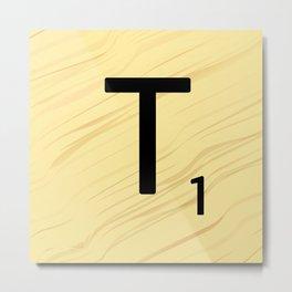Scrabble T Initial - Large Scrabble Tile Letter Metal Print