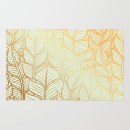 Bohemian Gold Feathers Illustration With White Shimmer Rug