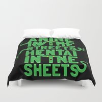 fullmetal Duvet Covers featuring Anime in the streets hentai in the sheets by BomDesignz