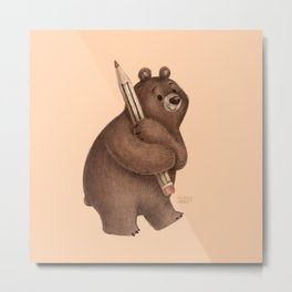 The Drawing Bear Metal Print
