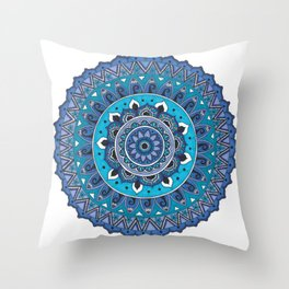 Blue Mandala Art Throw Pillow