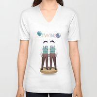 twins V-neck T-shirts featuring TWINS by Nazario Graziano