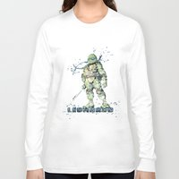 teenage mutant ninja turtles Long Sleeve T-shirts featuring Leonardo Teenage Mutant Ninja Turtles by Carma Zoe