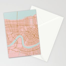 New Orleans map, Lousiana Stationery Cards