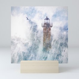 Storm in the lighthouse Mini Art Print