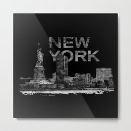 New York City Sketch  - mixed media Metal Print