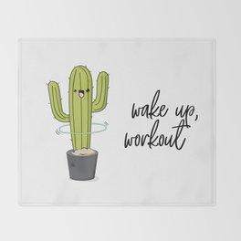 Cactus workout Throw Blanket