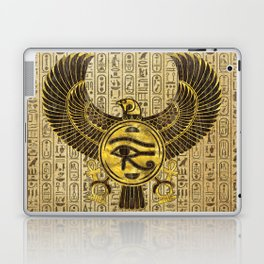 Egyptian Eye of Horus - Wadjet Gold and Wood Laptop & iPad Skin