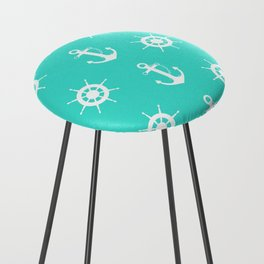 AFE Turquoise Anchor and Helm Wheel Counter Stool