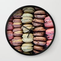 macarons Wall Clocks featuring Macarons by Tanya Harrison Photography