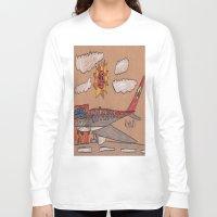 toronto Long Sleeve T-shirts featuring Toronto Landing by Ryan van Gogh