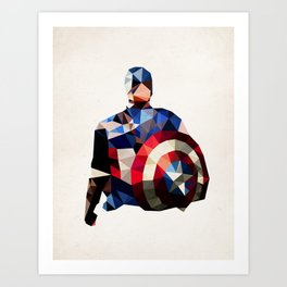 Polygon Heroes - Captain America Art Print