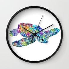 colorful Sea Turtle Wall Clock