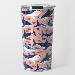 Sharks On Blush Travel Mug