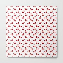 Red Cherries On White Pattern Metal Print