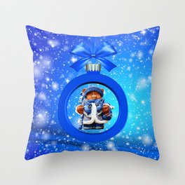 Blue Christmas Teddy Bear Throw Pillow
