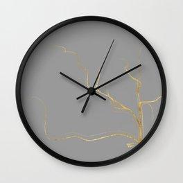 Kintsugi 3 #art #decor #buyart #japanese #gold #grey #kirovair #design Wall Clock