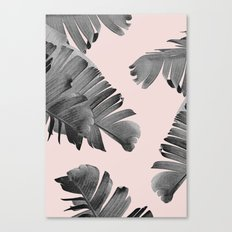Black and pink palm leaves Canvas Print