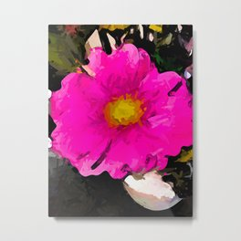 Pink and Gold Flower in a White Vase Metal Print