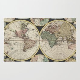 Vintage Map of The World (1696) Rug