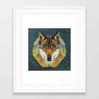 polygon Framed Art Prints featuring polygon wolf by Ancello