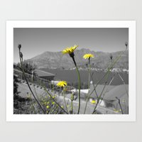 Flowers and Mountains Art Print