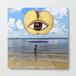 The Woman and the Eye apple Metal Print