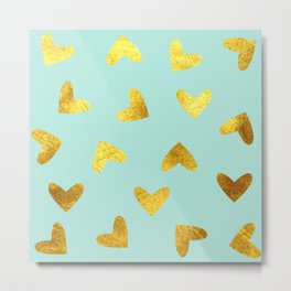 gold heart pattern blue Metal Print