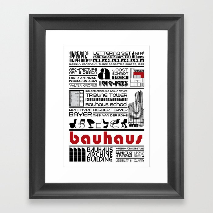 Bauhaus Type and Architecture Framed Art Print by nourasaad