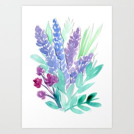 Lavender Floral Watercolor Bouquet Art Print