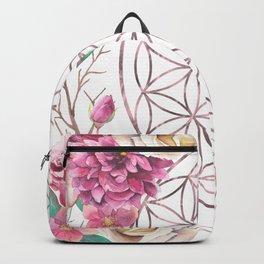 Flower of Life Rose Gold Garden Backpack