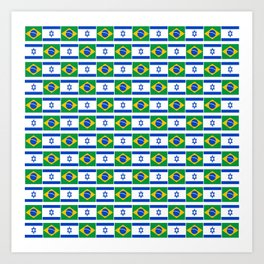 Mix of flag : Israel and brazil Art Print