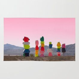 Seven Magic Mountains with Pink Sky - Las Vegas Rug