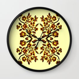 Yellow Brown Flower Leaf Pattern Vector Wall Clock