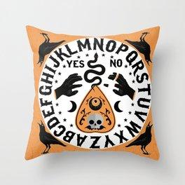 Orange And Black Modern Ouija Board With Ravens Throw Pillow