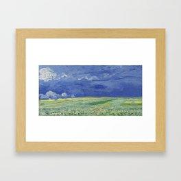 Wheatfield under Thunderclouds Framed Art Print