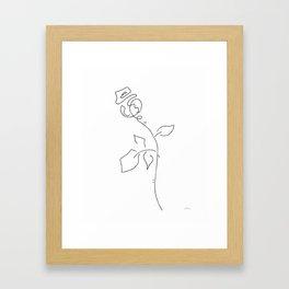 Rose line drawing. Abstract flower sketch. Framed Art Print
