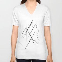 Black Lines Unisex V-Neck