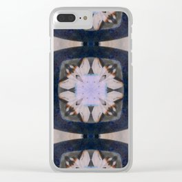 Fringed Petals on Peach Flower Pattern Clear iPhone Case