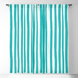 Turquoise and White Cabana Stripes Palm Beach Preppy Blackout Curtain
