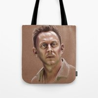 ben giles Tote Bags featuring Ben by Jackie Sullivan