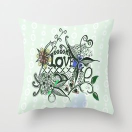 """Pen and ink drawing illustration,""""LOVE"""" wall art, home decor design Throw Pillow"""