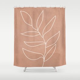 Engraved Leaf Line Shower Curtain