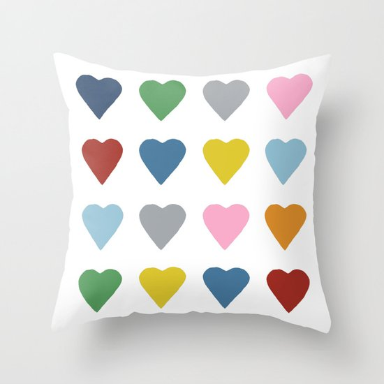 16 Hearts Throw Pillow