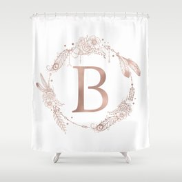 Letter B Rose Gold Pink Initial Monogram Shower Curtain