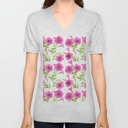 Petunia flowers pattern Unisex V-Neck